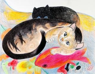 日系人画家ジミー・ツトム・ミリキタニさんの絵「ミリキタニの猫」