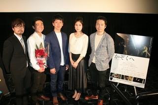 ティーチインを行った(左から)春本 雄二郎監督、松浦慎一郎、梅田誠弘、 遠藤祐美、森本のぶ「かぞくへ」