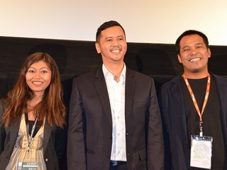 I・イスファンシャー監督、原作者 F・ハムザ氏、脚本家C・シレガル(右から)「CADO CADO(チャドチャド) 研修医のトホホ日記」