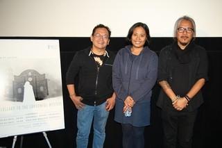 ティーチインを行った(左から)ジョエル・ サラチョ、ヘイゼル・オレンシオ、 ラブ・ディアス監督「痛ましき謎への子守唄」