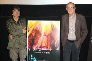 ティーチインを行ったトーマス・ レノン監督と森達也監督「「A」」