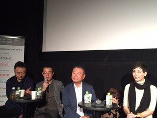 (左から)撮影監督のチュー・ジンジン、メイ・フォン監督、主演のファン・ウェイ、女優のシー・イーホン、「ミスター・ノー・プロブレム」