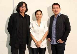 インタビューに応じた行定勲監督、ソト・クォーリーカー監督、ブリランテ・メンドーサ監督(左から)「鳩」