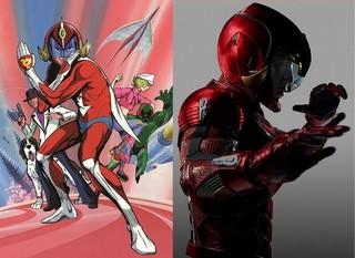 「破裏拳ポリマー」TVアニメ版(左)と実写版(右)