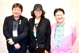 明け方まで盛り上がった(左から) 本広克行監督、行定勲監督、ミルクマン斉藤「うつくしいひと」