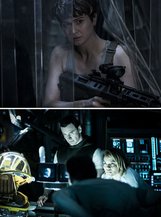 キャサリン・ウォーターストン演じる 新ヒロインのダニエルズ(上)と マイケル・ファスベンダーが扮する アンドロイドのデヴィッド「エイリアン」
