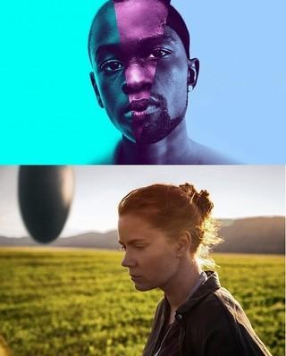 「ムーンライト」(上)と「メッセージ」 アカデミー賞では同じ脚色賞を競う「ムーンライト」