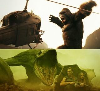 島に到着した途端にコングに遭遇「キングコング 髑髏島の巨神」