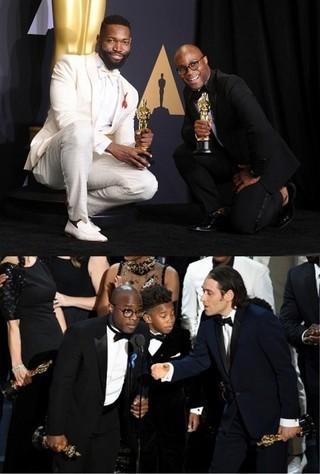 「ラ・ラ・ランド」製作陣への親愛を 示したバリー・ジェンキンス監督 (写真上段の右)「ムーンライト」