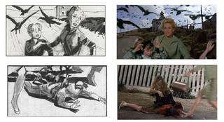 ハロルドが手がけた絵コンテと場面写真「ハロルドとリリアン ハリウッド・ラブストーリー」
