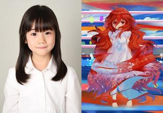 7歳で声優出演を果たした岡田日花里ちゃん (左)と演じるキャラクターのエルク