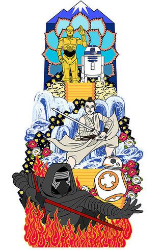 「スター・ウォーズ」の山笠が 博多の街を駆け巡る「スター・ウォーズ」