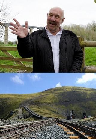 ガイドで作家のジョンさん(上)と 巨人が眠るスノードン山「キング・アーサー」