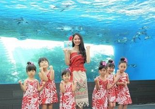 水槽の前で主題歌を披露「モアナと伝説の海」