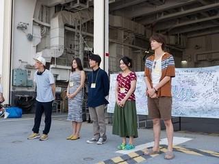 挨拶する犬童監督、片山、金井、池脇、杉野「きらきら眼鏡」