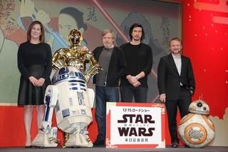 会見を行った(左から)キャスリーン・ケネディ、マーク・ハミル、アダム・ドライバー、ライアン・ジョンソン監督「スター・ウォーズ」