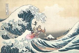 チラシ中面にデザインされた「波乗り寛之進」「のみとり侍」