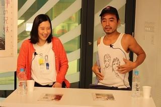 公式Tシャツを忘れたため、自身のタンクトップにイラストを描いた松浦