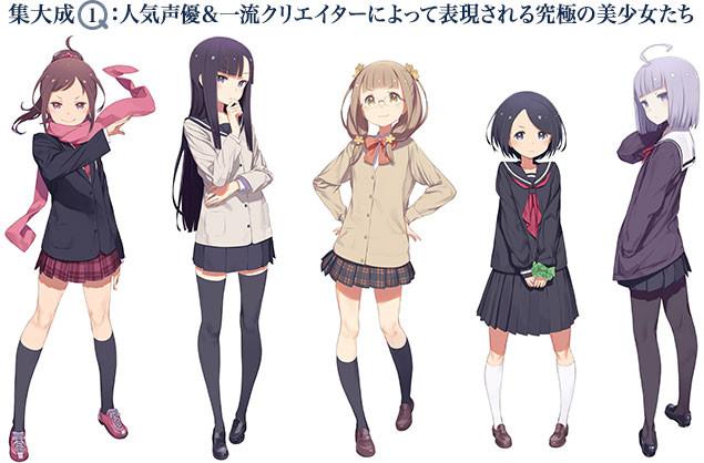 (左から)5人の主人公、小湊伊純、日岡蒼、友立小夏、大道あさひ、都久井沙紀