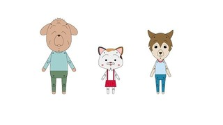 左から友蔵(イヌ)、まる子(ネコ)、アンドレア(イタリアンオオカミ)