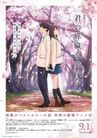 【週末アニメ映画ランキング】「君の膵臓をたべたい」は興収1億円超えの好スタート
