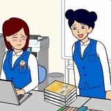 「田中さん」が演じる耐え子(左)と、愛美が演じる朝美ちゃん(右)