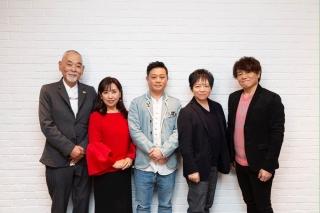 明田川進、小山茉美、岩田光央、佐々木望、草尾毅(左から)