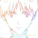 「シン・エヴァ」で実際に使用された碇シンジの原画をデザインしたCDジャケット。LP版には綾波レイの原画を使用