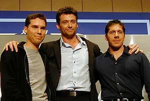 (左より) ブライアン・シンガー監督、ヒュー・ジャックマン、レイ・パーク「X-メン」