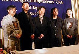 (左より)市山尚三プログラム・ディレクター、SABU監督 黒沢清監督、塚本晋也監督、林加奈子ディレクター