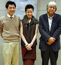 (左より)イッセー尾形、宮沢りえ、市川準監督「トニー滝谷」