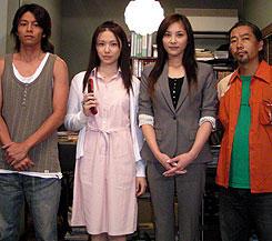 (左より)吉沢悠、ミムラ、瀬戸朝香、塚本連平監督「着信アリ」