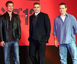 (左より)ブラッド・ピット、ジョージ・クルーニー、マット・デイモン「オーシャンズ12」