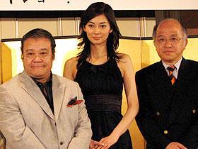 (左より)西田敏行、伊東美咲、浅田次郎「椿山課長の七日間」