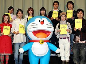 公開アフレコ収録に参加した (前列左から)千秋、相武紗季、久本雅美、河本準一「ホワイトアウト(2000)」