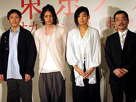 「東京タワー/オカンとボクと、時々、オトン」 (左から)小林薫、オダギリジョー、内田也哉子、松岡錠司監督「東京タワー オカンとボクと、時々、オトン」
