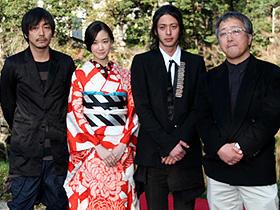 「蟲師」 (左から)大森南朋、蒼井優、オダギリジョー、大友克洋監督「蟲師」