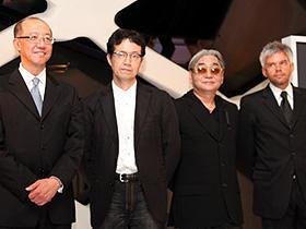 このコラボ、トレンドとなるか? (左から)テレンス・チャン、荒牧伸志監督、 細野晴臣、トマソ・ガッリ氏「エクスマキナ」