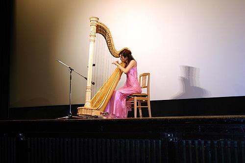 「夕凪の街 桜の国」 7月19日 特別試写会舞台挨拶 舞台挨拶前に行われた、テーマソングのハープ演奏