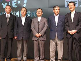 20周年を盛り上げます! (左から)福田慶治、角川歴彦、山下洋輔、羽佐間道夫、高井英幸