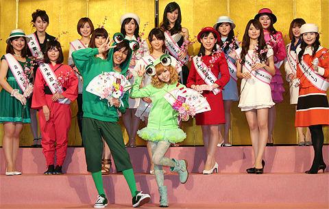 全国のプリンセスと梅田&益若モデル夫妻が巨大ひな壇に登場