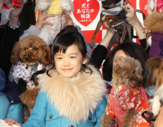 人気子役・芦田愛菜、38匹の犬に囲まれご満悦
