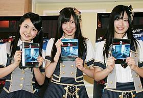 「パラノーマル2」で恐怖体験した 「SKE48」加藤るみ、大矢真那、矢神久美(左から)「パラノーマル・アクティビティ」