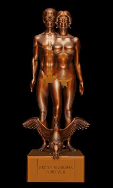 ジャスティン・ビーバー&セレーナ・ゴメス、ヌード彫像で合体