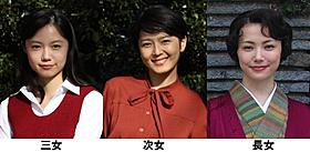 役所広司扮する伊上の娘を演じた(左から)宮崎あおい、菊池亜希子、ミムラ「わが母の記」