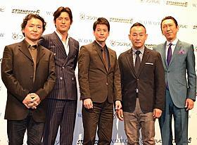 (左から)飯田譲治監督、オ・ジホ、唐沢寿明、ボウイ・ラム、布袋寅泰