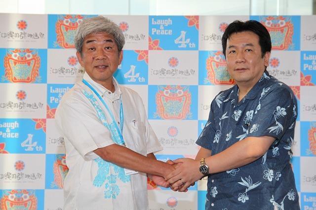 枝野経産相、沖縄国際映画祭を視察