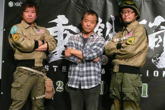(左より)片岡謙二プロデューサー、押井守監督、 北林達也プロデューサー