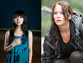 「ハンガー・ゲーム」主演のジェニファー・ローレンス(右)と水樹奈々「ハンガー・ゲーム」
