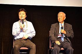 すずきじゅんいち監督(右)とハーバート・ヤナムラ氏「二つの祖国で 日系陸軍情報部」